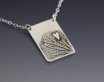 Sterling Silver Hydrangea Petal and Heart Necklace, Valentine's Day Gift