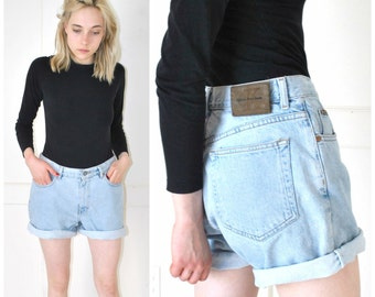 CALVIN KEIN light wash jean shorts vintage early 90s GRUNGE pale faded denim high waisted rolled up shorts size 29