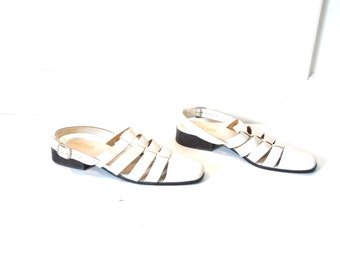 size 10 BOHO fisherman sandals vintage 80s 90s pointy ALMOND toe flat WOVEN leather off white huraches flat closed toe sling back sandals