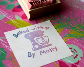 Baked with love rubber stamp -  Handmade
