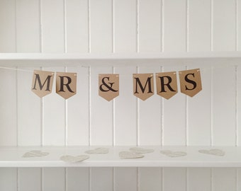 Mr and Mrs Vintage Wedding Garland Bunting Pennant