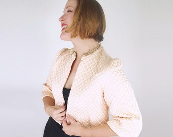 40s Peach Quilted Satin Bed Jacket S