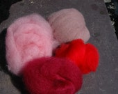 Hand Dyed Felting Fiber Pinks / Reds