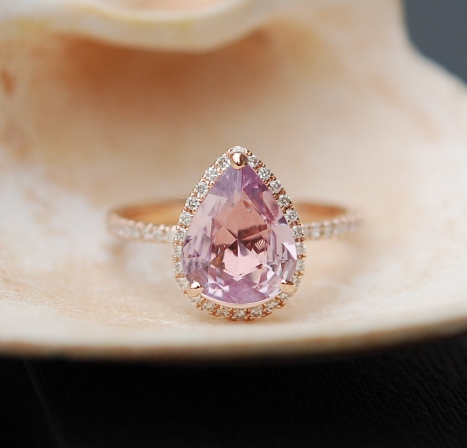 Peach Champagne Sapphire Engagement Ring. Rose By