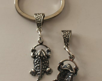 Sterling HORNED TOAD Key Ring, Key Chain - 3D - Celtic