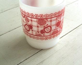 Vintage Anchor Hocking Fire King USA Milk Glass Mug Red Plaid Apples Flowers