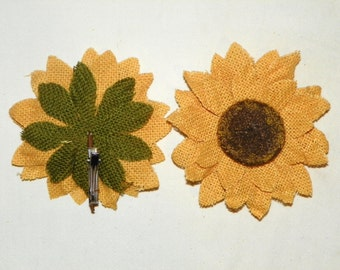 4 Inch Burlap Sunflower with a Clip Back