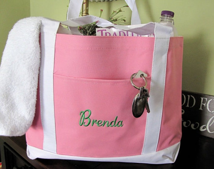 Emboidered Pink Tote Bag with Name or Monogram