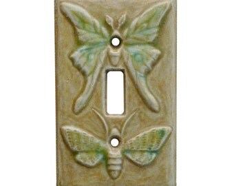 Luna Moth Ceramic Light Switch Plate (single toggle- tan emerald glaze)