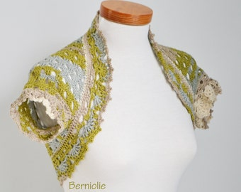 Crochet shrug, Green, Creme, Grey, N331