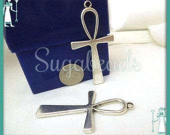 4 Antiqued Silver Ankh Pendants - Egyptian Ankh 56mm PS22