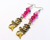 Pretty Princess Kitty Pink and Antique Brass Earrings