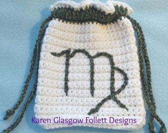 Virgo Zodiac Tarot Bag Hand Crochet White and Heathered Green w Double Drawstring Closures