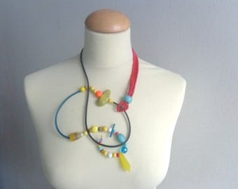Black red yellow colorful rubber statement necklace