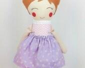 Ready to Ship, Stuffed Fabric Doll, Handmade Cloth Doll, Brown Haired Doll, Doll with Skirt, Rosy Cheeks Doll, Handmade Keepsake Doll
