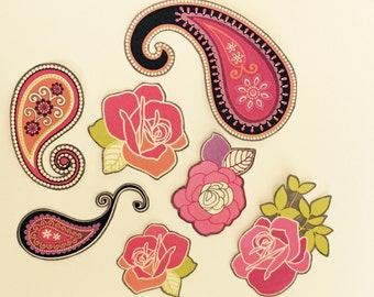 Set of 7 Roses and Paisleys - Iron On Fabric Appliques