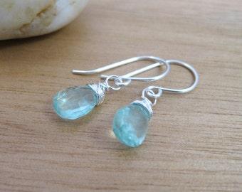 Colombian Emerald Earrings Petite Dangle Earrings Emerald Dangle Earrings May Birthstone Jewelry Birthstone Earrings Minimalist Earrings