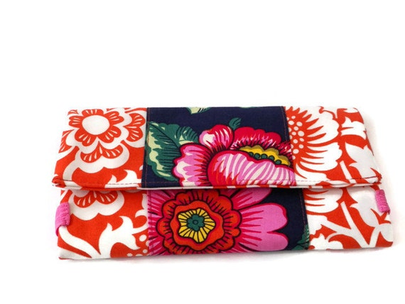 Festival of Flowers Orange and White Fashion Bifold Wide Women's Cotton Wallet