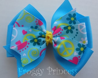 Hearts and Peace Signs Hair Bow - Double Pinwheel - No Slip Velvet Grip Hair Clip
