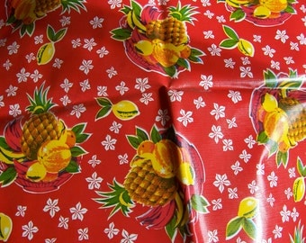 red oil cloth with pineapples