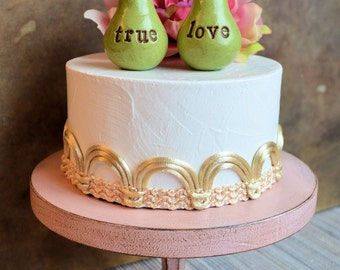Wedding cake topper ... Pair of Pears... true love ... perfect pair, vintage green color