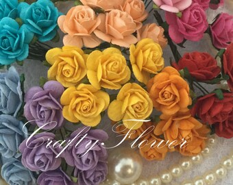 25 Rainbow Mixed Small Mulberry Paper Flowers for Baskets Scrapbooks Wedding Cupcake Cards Dolls Crafts Roses 427/R3