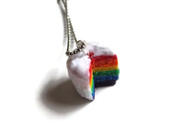 SCENTED Rainbow Layer Cake Necklace, Hand Sculpted polymer clay