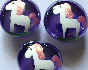 Hand Painted glass gem magnets party favors unicorns unicorn