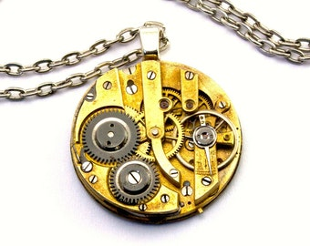 Round Gold toned Steampunk Necklace Vintage Watch Movement Necklace Clockwork Steam Punk Fashion medallion by London Particulars