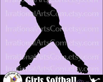 Vinyl Ready Softball Women Catcher pose 10 INSTANT DOWNLOaD digital clipart graphics 1 png and 1 EPS and 1 SVG files baseball