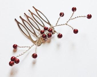 Wine Pearl Flower Hair Vine - Swarovski Pearl Burgundy Deep Red - Wedding Hair Accessory