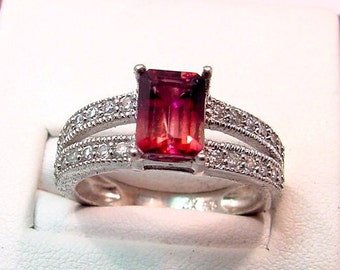 AAA Natural Bi Color Red Tourmaline   1.61 Carats   14K white gold diamond (.25ct) Ring 0141