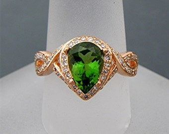 AAAAA Chrome Tourmaline Pear shape Natural Untreated   10x7mm   in 18K Rose gold diamond Halo Engagement ring (.50 carats) 1596 MMM