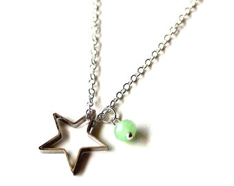 Mint green white bead and silver star necklace CLEARANCE