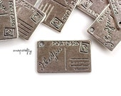 10pc antique silver postcard charm / silver plated love letter charm / nickel-free, lead-free