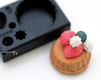 mini strawberry tart mold for creating miniature clay sweets / top quality Floree all-in-one mold from Japan / diy clay miniatures