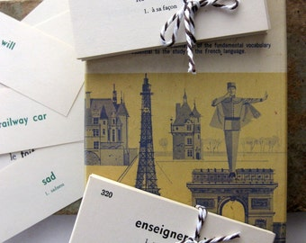 75 Fabulous French, Vintage Vocabulary Cards, Mini Size for Tags, Collage