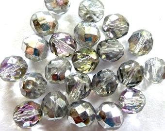 Vintage Czech Vitrail Fire Polished Faceted Glass Round Beads 10mm (6)
