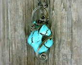 Turquoise Wire Wrapped Pendant Necklace in Gunmetal