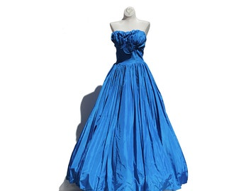 Royal Blue Taffeta Strap Less Full Length Gown