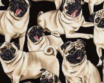 PUGS Pug Dog Black Cotton Quilt Fabric - by the Half Yard, Quarter Yard, or Fat Quarter Pups Puppy
