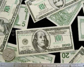MONEY Robert Kaufman PLEASURES & PASTIMES - Cotton Quilt Fabric by the Yard, Half Yard, or Fat Quarter Dollar Bills Dollars