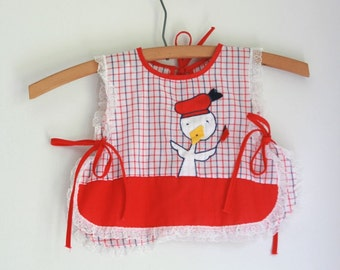 Vintage duck pinafore 2T 3T