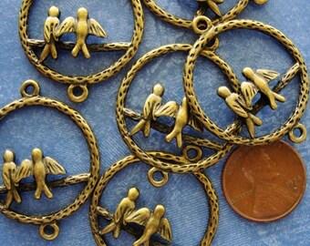 6 pcs Antiqued Bronze Bird Ring Connectors, Drops, 34x28mm, CN422