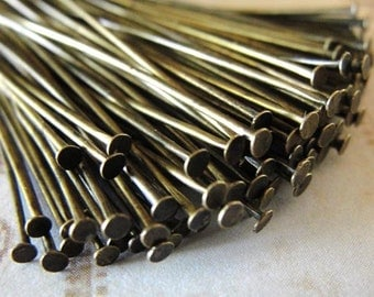 500 pcs Antiqued Brass flat head pins, 2 inch,  21 gauge  HP7515