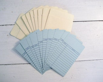 Set of 25 each Vintage Paper Book Library Cards and Pockets