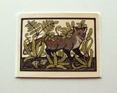 Fox fine art wood veneer greeting card A2 size