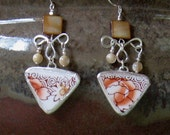 """Vintage Broken China Ceramic Shards Earrings, Sterling Silver, Mother of Pearl Beads, Pretty """"Hand Painted in Japan"""" Flowers"""