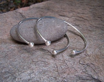 Double Ball Sterling Silver Open Cuff