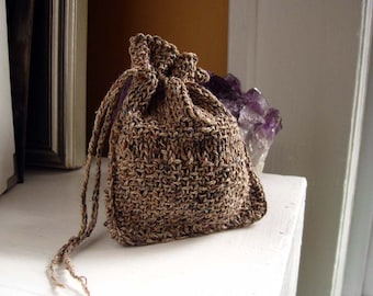 Earthy rustic rune bag / knit drawstring pouch for runes, dice, small oracles